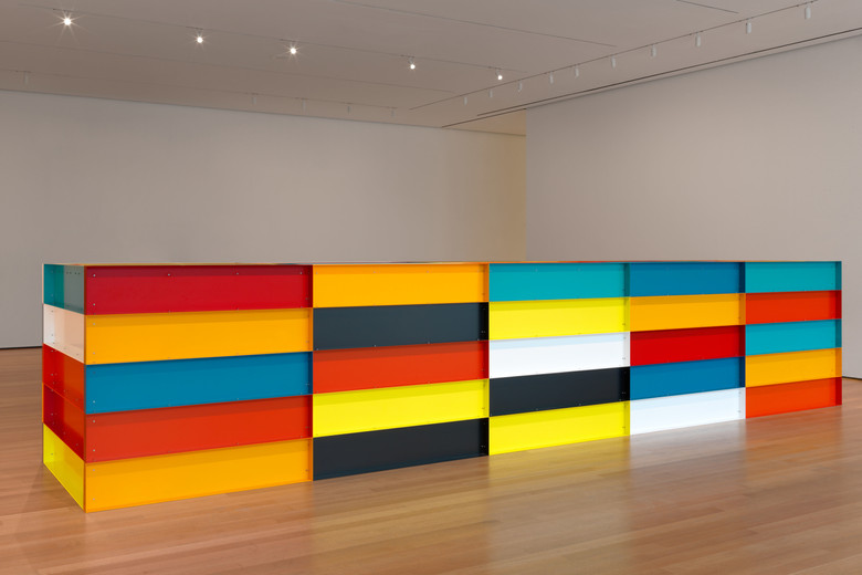 "Donald Judd. Untitled.1991. Enameled aluminum. 59"" x 24' 7 1/4"" x 65"" (150 x 750 x 165 cm). The Museum of Modern Art, New York. Bequest of Richard S. Zeisler and gift of Abby Aldrich Rockefeller (both by exchange) and gift of Kathy Fuld, Agnes Gund, Patricia Cisneros, Doris Fisher, Mimi Haas, Marie-Josée and Henry R. Kravis, and Emily Spiegel Page. © 2020 Judd Foundation / Artists Rights Society (ARS), New York"
