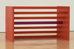 "Donald Judd. Untitled. 1963/1975. Cadmium red light oil on wood and purple lacquer on aluminum. 48 × 83 × 48"" (121.9 × 210.8 × 121.9 cm). National Gallery of Canada, Ottawa. © 2020 Judd Foundation / Artists Rights Society (ARS), New York"