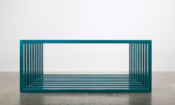"Donald Judd. Untitled. 1966. Turquoise enamel on aluminum. 10 units, each: 48 × 120 × 6 5/8"" (121.9 × 304.8 × 16.8 cm), with 6"" (15.2 cm) intervals. Overall: 48 × 120 × 120"" (121.9 × 304.8 × 304.8 cm). Whitney Museum of American Art, New York. Gift of Howard and Jean Lipman. © 2020 Judd Foundation / Artists Rights Society (ARS), New York"