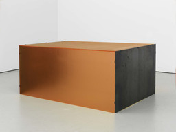 "Donald Judd. Untitled. 1964. Orange pebbled Plexiglas and hot-rolled steel. 20 × 45 3/8 × 31"" (50.8 × 115.3 × 78.7 cm). Stephen Flavin, Garrison. © 2020 Judd Foundation / Artists Rights Society (ARS), New York"