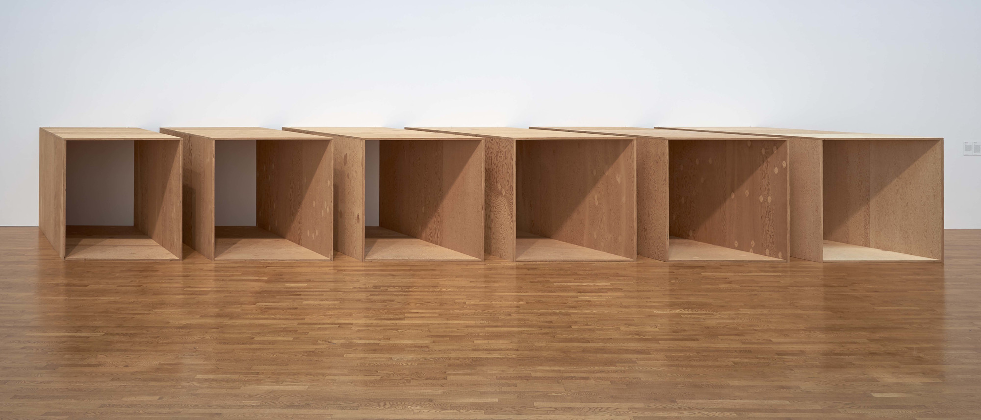"Donald Judd. _Untitled_. 1973. Plywood. 6 units, each: 72 × 143 × 72"" (182.9 × 363.2 × 182.9 cm) with 12"" intervals. Overall: 72 × 585 × 72"" (182.9 × 1485.9 × 182.9 cm). National Gallery of Canada, Ottawa. © 2020 Judd Foundation / Artists Rights Society (ARS), New York"