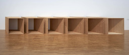 "Donald Judd. Untitled. 1973. Plywood. 6 units, each: 72 × 143 × 72"" (182.9 × 363.2 × 182.9 cm) with 12"" intervals. Overall: 72 × 585 × 72"" (182.9 × 1485.9 × 182.9 cm). National Gallery of Canada, Ottawa. © 2020 Judd Foundation / Artists Rights Society (ARS), New York"
