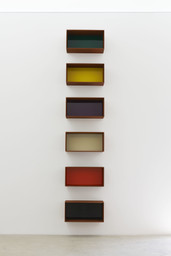 "Donald JuddUntitled. 1992. Cor-Ten steel and green, yellow, purple, ivory, orange, and black acrylic sheets. Six units, each 19 11⁄16 × 39 3 × 19 11⁄16"" (50 × 100 × 50 cm). Artworkers Retirement Society. © 2020 Judd Foundation / Artists Rights Society (ARS), New York"
