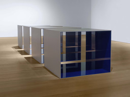 "Donald Judd. Untitled. 1969. Clear anodized aluminum and blue Plexiglas. Four units, each 48 × 60 × 60"" (121.9 × 152.4 × 152.4 cm), with 12"" (30.5 cm) intervals. Overall: 48 × 276 × 60"" (121.9 × 701 × 152.4 cm). Saint Louis Art Museum. © 2020 Judd Foundation / Artists Rights Society (ARS), New York"