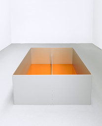 "Donald Judd. Untitled. 1989. Anodized aluminum clear and amber acrylic sheet. 39 3/8 × 78 3/4 × 78 3/4"" (100 × 200 × 200 cm). Glenstone Museum, Potomac, Maryland. © 2020 Judd Foundation / Artists Rights Society (ARS), New York"