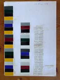 "Donald Judd. Untitled. 1984. Color samples from RAL chart and pencil on paper. Sheet: 13 1/4 × 9 3/8"" (33.7 × 23.8 cm). Judd Foundation. © 2020 Judd Foundation / Artists Rights Society (ARS), New York"