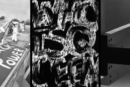 From left: Poor People's Campaign, Resurrection City. June 25, 1968. AP Photo/Bob Daugherty; Adam Pendleton. Untitled (Who Is Queen). 2019; Adam Pendleton. Queen (detail). 2020. Courtesy the artist
