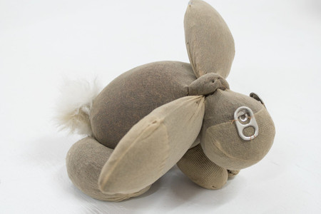 Gabrielle L'Hirondelle Hill. <em>Mint</em>. 2019. Pantyhose, beer can tabs, tobacco, bunny fur, and thread, 5 1/2 × 7 1/16 × 9 1/2″ (14 × 17.9 × 24.1 cm). Courtesy the artist and Unit 17, Vancouver, and Cooper Cole, Toronto