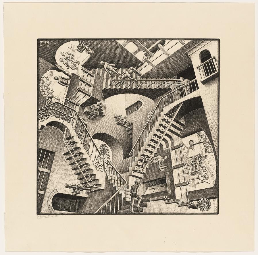 M. C. Escher. Relativity. 1953