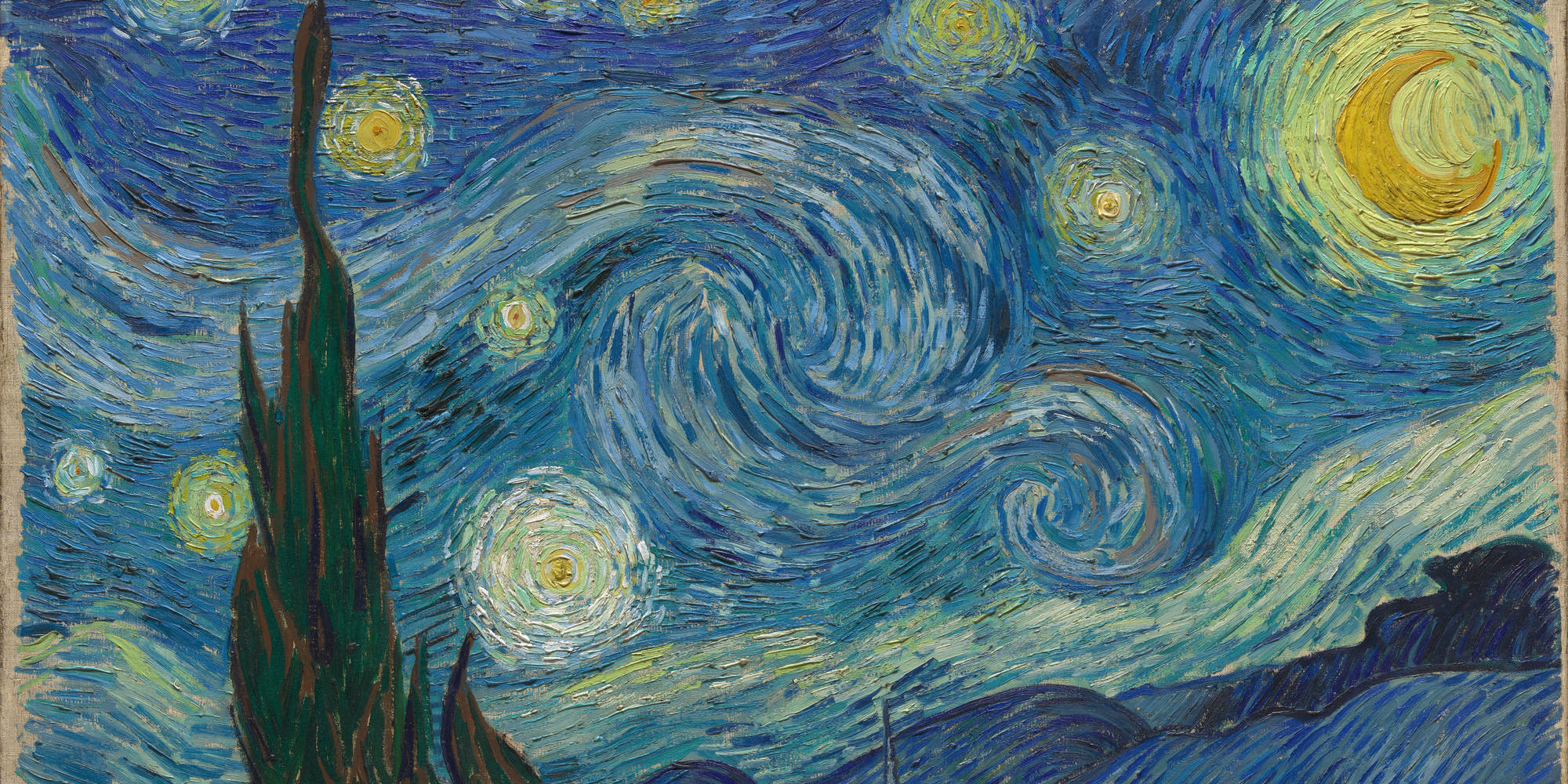 "Vincent van Gogh. The Starry Night. 1889. Oil on canvas, 29 × 36 1/4"" (73.7 × 92.1 cm). Acquired through the Lillie P. Bliss Bequest (by exchange). Conservation was made possible by the Bank of America Art Conservation Project"