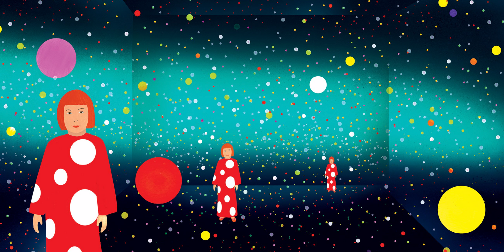 Cover art from Yayoi Kusama: From Here to Infinity by Sarah Suzuki. Published by The Museum of Modern Art