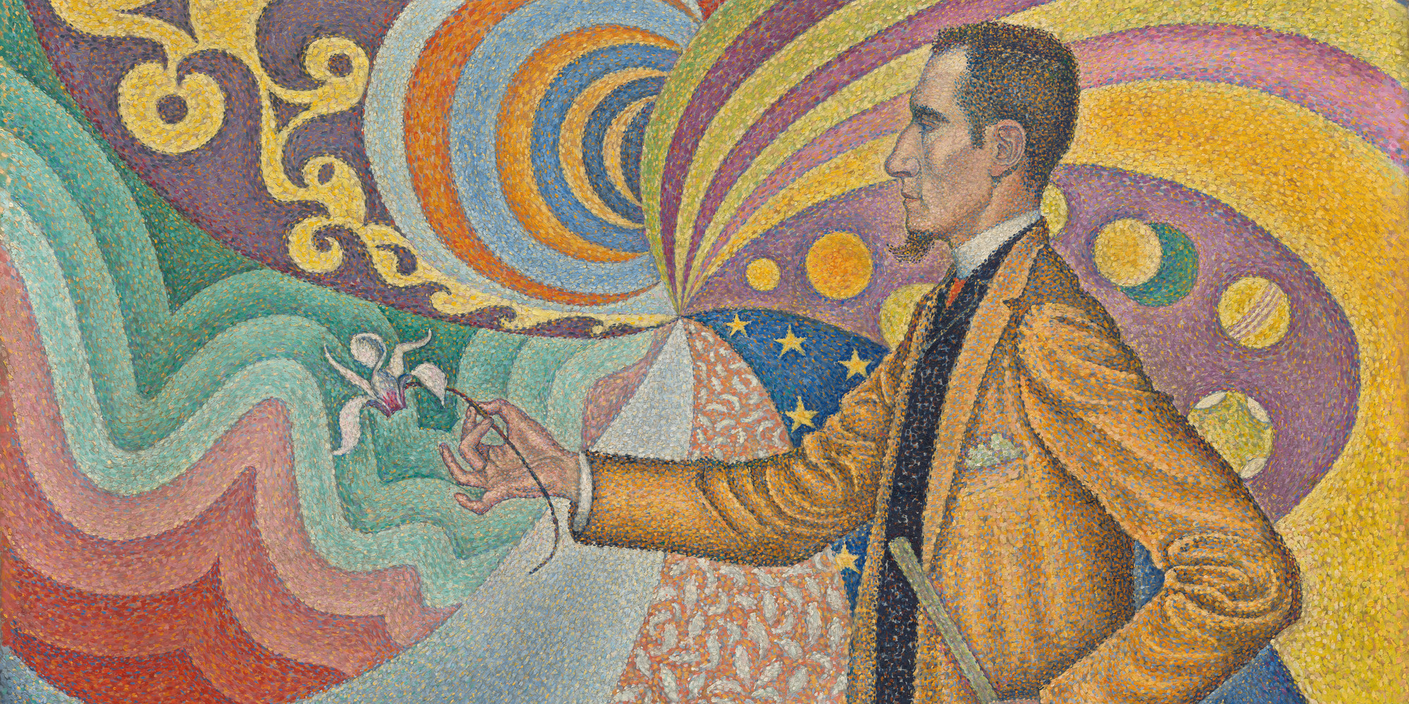 "Paul Signac. Opus 217. Against the Enamel of a Background Rhythmic with Beats and Angles, Tones, and Tints, Portrait of M. Félix Fénéon in 1890. Oil on canvas, 29 × 36 1/2"" (73.5 × 92.5 cm). Gift of Mr. and Mrs. David Rockefeller. © 2020 Artists Rights Society (ARS), New York/ADAGP, Paris"