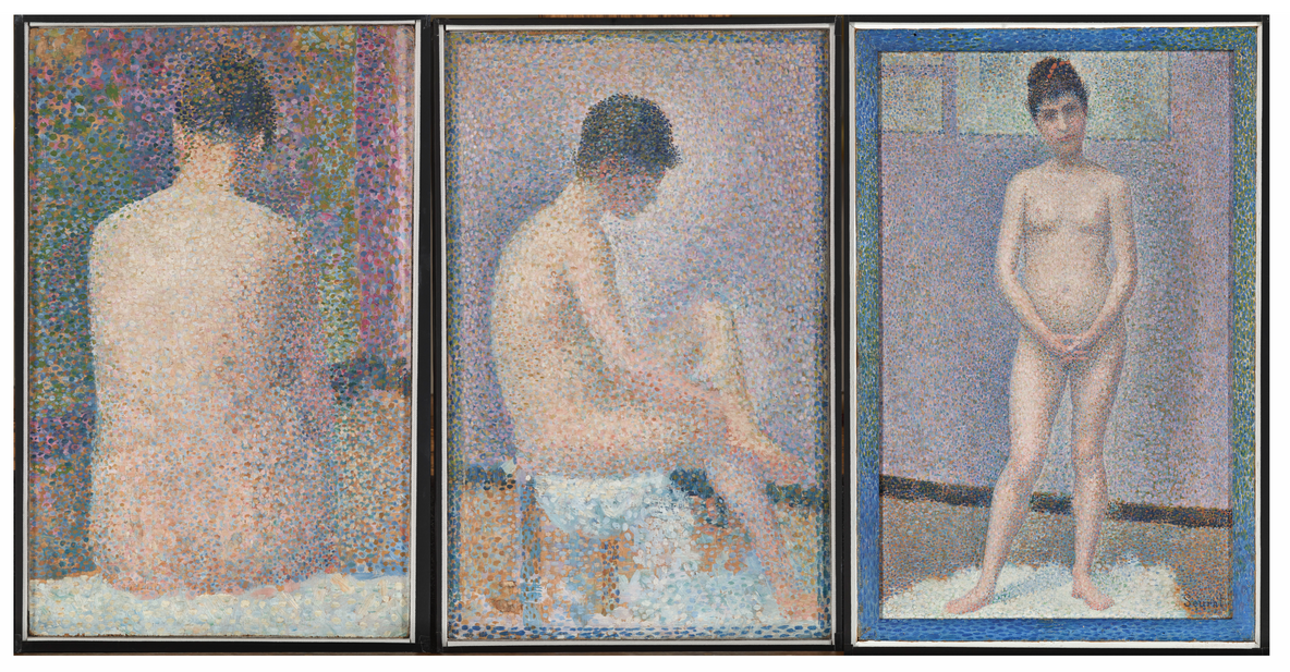 Georges-Pierre Seurat. Model from the Back. 1886; Model in Profile. 1886; Model. Facing Front. 1886–87