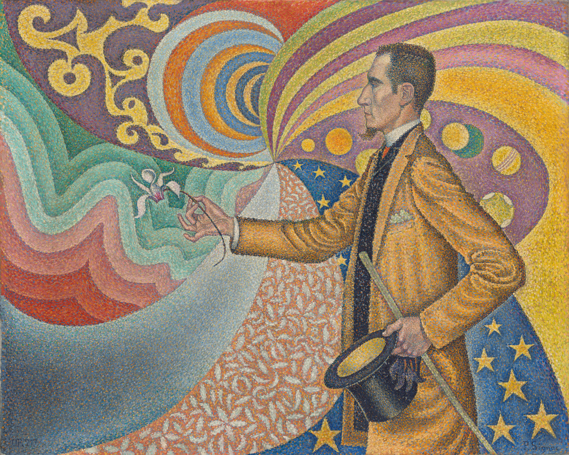 Paul Signac. Opus 217. Against the Enamel of a Background Rhythmic with Beats and Angles, Tones, and Tints, Portrait of M. Félix Fénéon in 1890. 1890