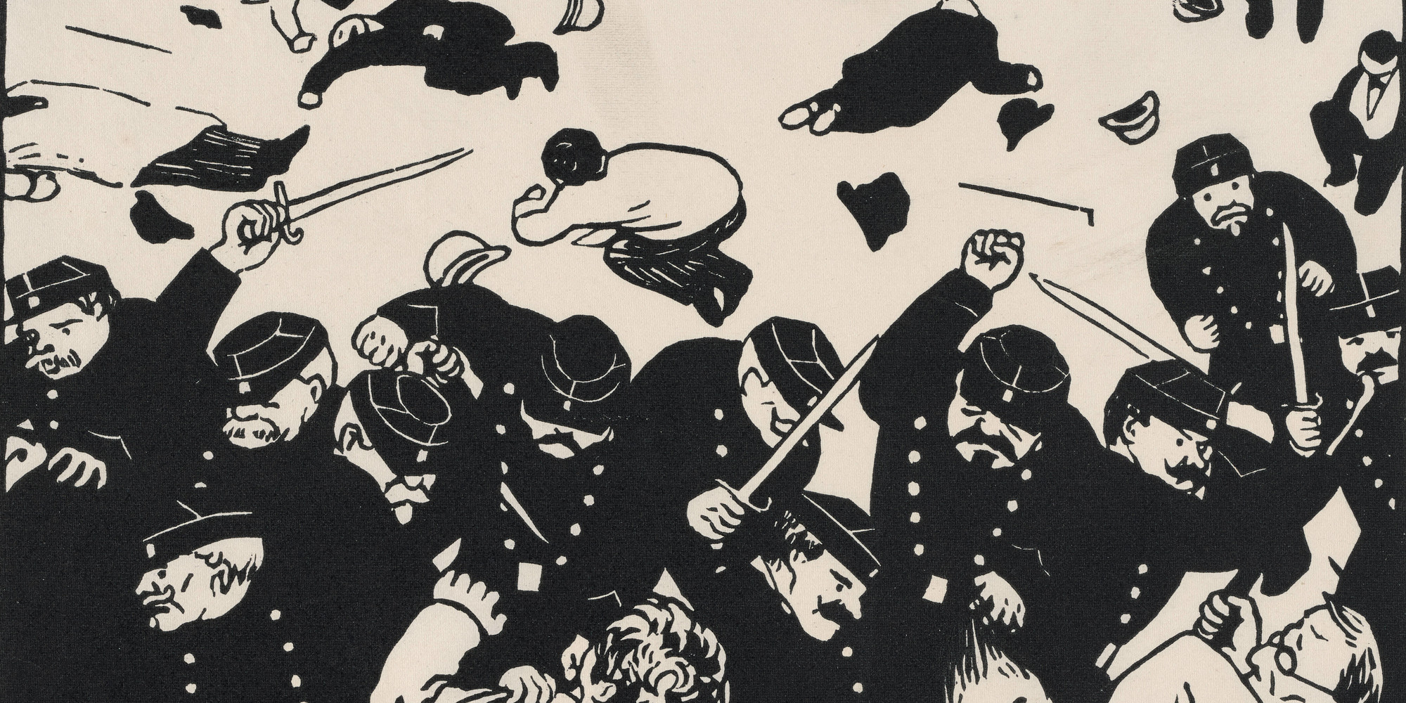 "Félix Vallotton. The Charge (La charge). 1893. Woodcut, composition: 7 7/8 × 10 1/4"" (20 x 26 cm); sheet: 10 3/16 × 12 3/4"" (25.9 × 32.4 cm). The Museum of Modern Art, New York. Larry Aldrich Fund"