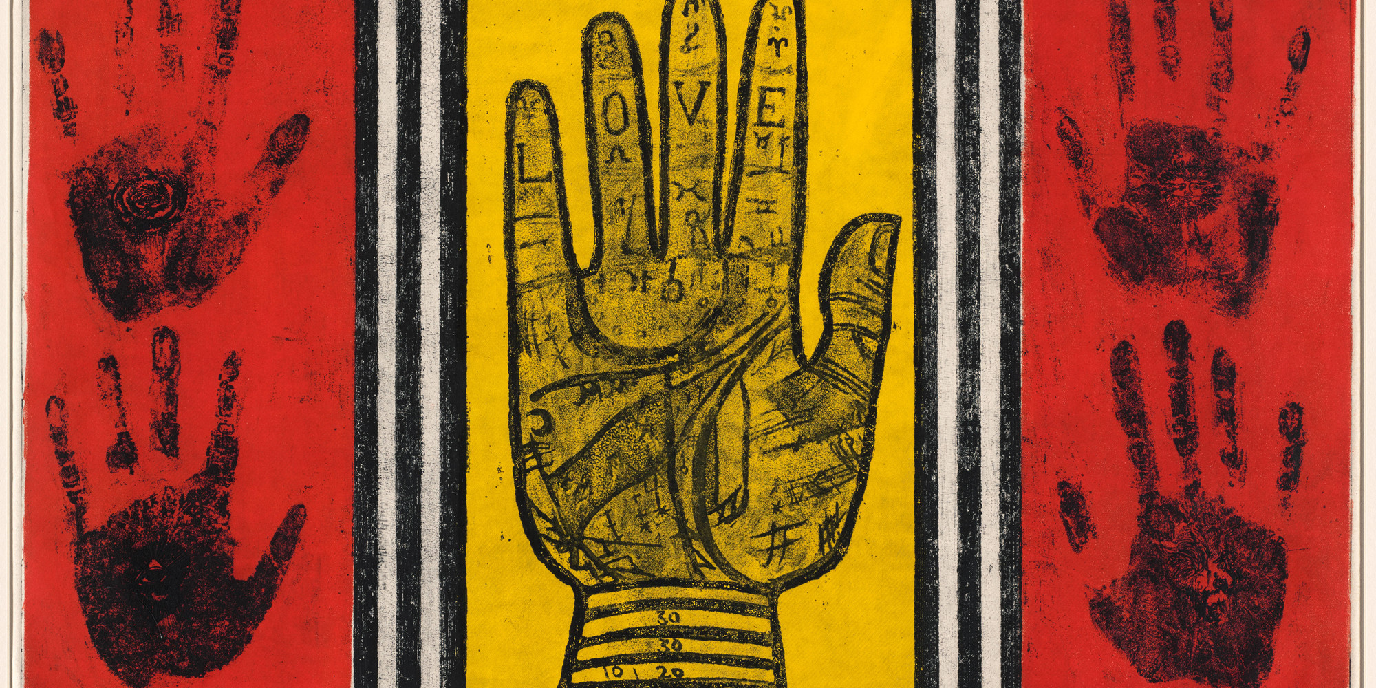"Betye Saar. Palm of Love. 1966. Etching with relief printing, plate: 17 15/16 × 23 3/4"" (45.6 × 60.3 cm); sheet: 19 1/16 × 26 1/16"" (48.4 × 66.2 cm). Committee on Drawings and Prints Fund"