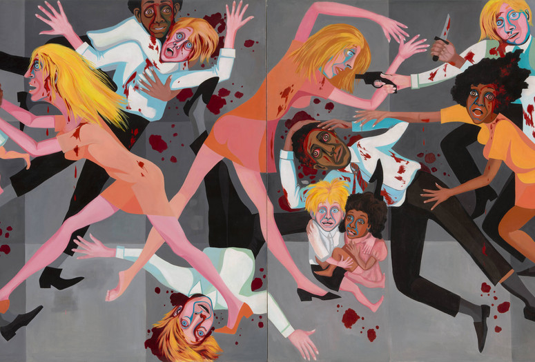 "Faith Ringgold. American People Series #20: Die. 1967. Oil on canvas, two panels, 72 × 144"" (182.9 × 365.8 cm). Acquired through the generosity of The Modern Women's Fund, Ronnie F. Heyman, Glenn and Eva Dubin, Lonti Ebers, Michael S. Ovitz, Daniel and Brett Sundheim, and Gary and Karen Winnick"