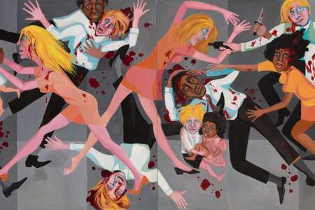Faith Ringgold. <em>American People Series #20: Die</em>. 1967. Oil on canvas, two panels, 72 × 144&quot; (182.9 × 365.8 cm). Acquired through the generosity of The Modern Women's Fund, Ronnie F. Heyman, Glenn and Eva Dubin, Lonti Ebers, Michael S. Ovitz, Daniel and Brett Sundheim, and Gary and Karen Winnick