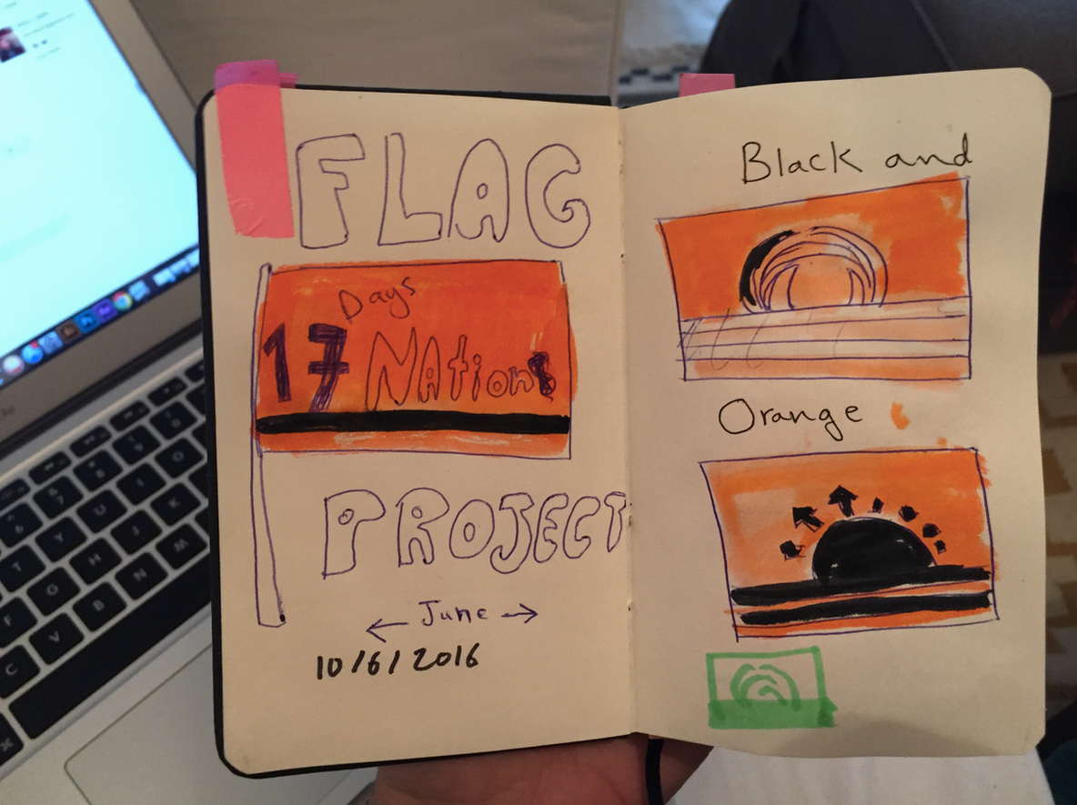 Original sketch book of the Refugee Nation flag thought process