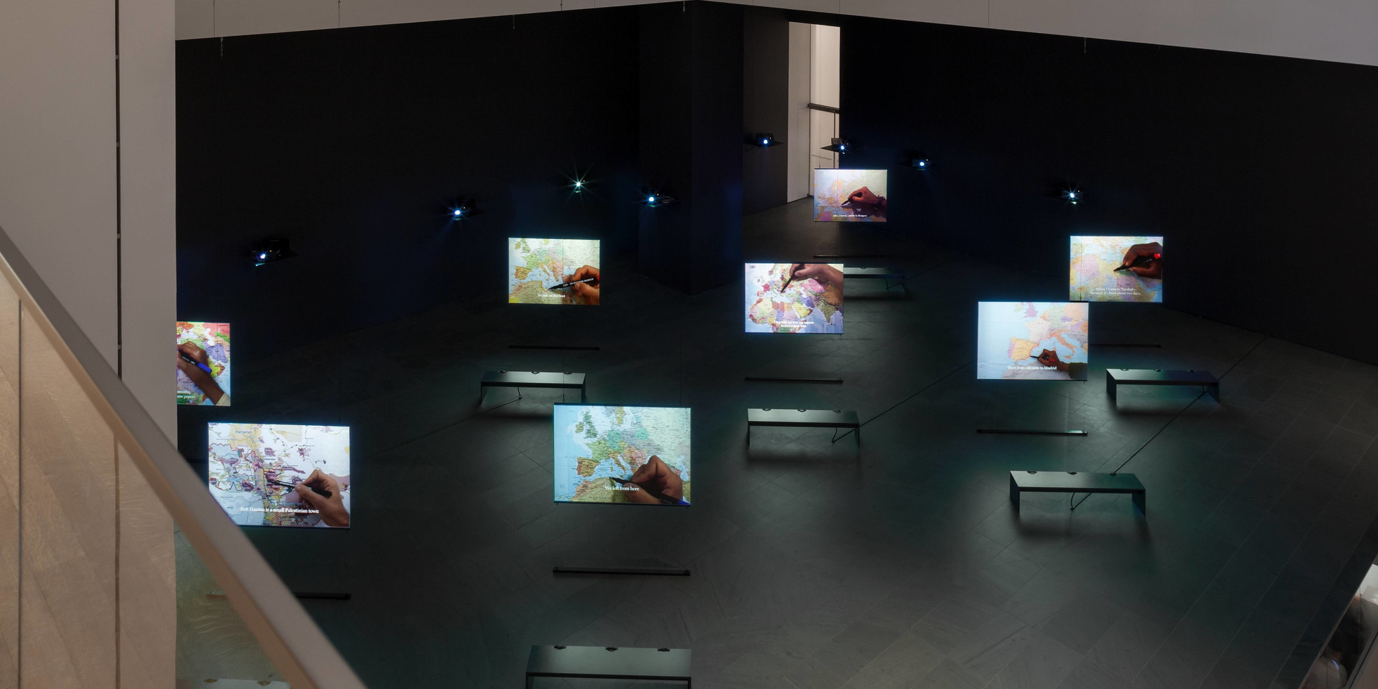Bouchra Khalili. The Mapping Journey Project. 2008–11. Eight-channel video (color, sound), duration variable. Fund for the Twenty-First Century. © Bouchra Khalili. Courtesy of the artist