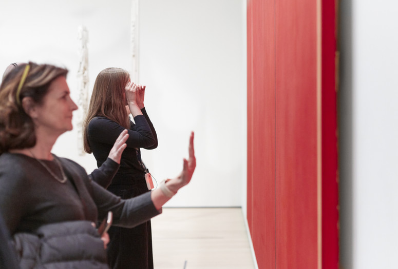 Art as Physical Experience: Barnett Newman's Vir Heroicus Sublimis, The Museum of Modern Art, Friday, February 21, 2020. Photo: Beatriz Meseguer/onwhitewall.com. © 2020 The Museum of Modern Art, New York