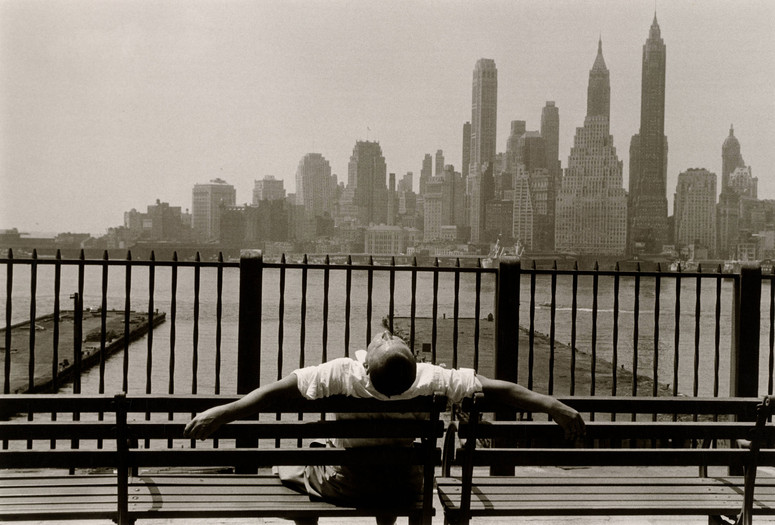 "Louis Stettner. Manhattan from the Promenade, Brooklyn, New York. 1954. Gelatin silver print, 12 1/4 × 18 1/4"" (31.1 × 46.4 cm). Gift of the artist in memory of his brother, David Stettner. © 2020 Estate of Louis Stettner"
