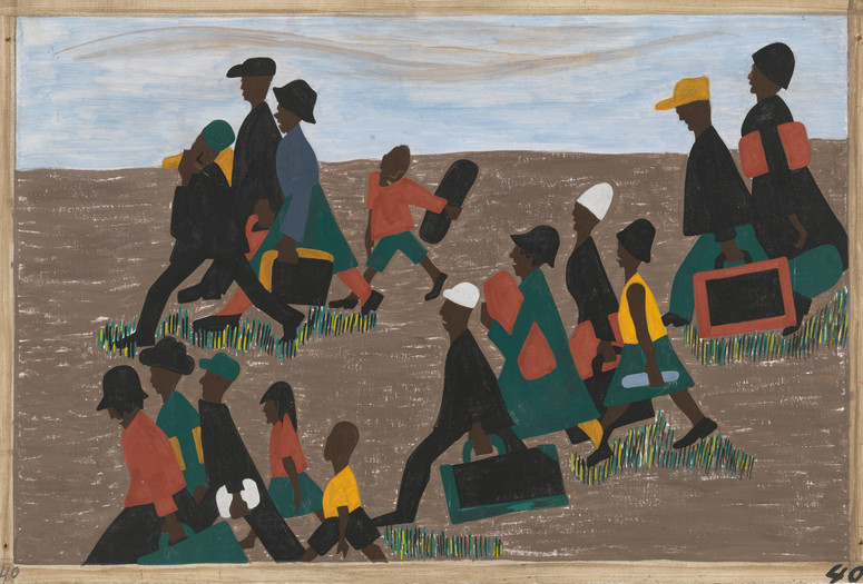 "Jacob Lawrence. The migrants arrived in great numbers. 1940–41. Casein tempera on hardboard, 12 × 18"" (30.5 × 45.7 cm). Gift of Mrs. David M. Levy. © 2020 Jacob Lawrence/Artists Rights Society (ARS), New York"