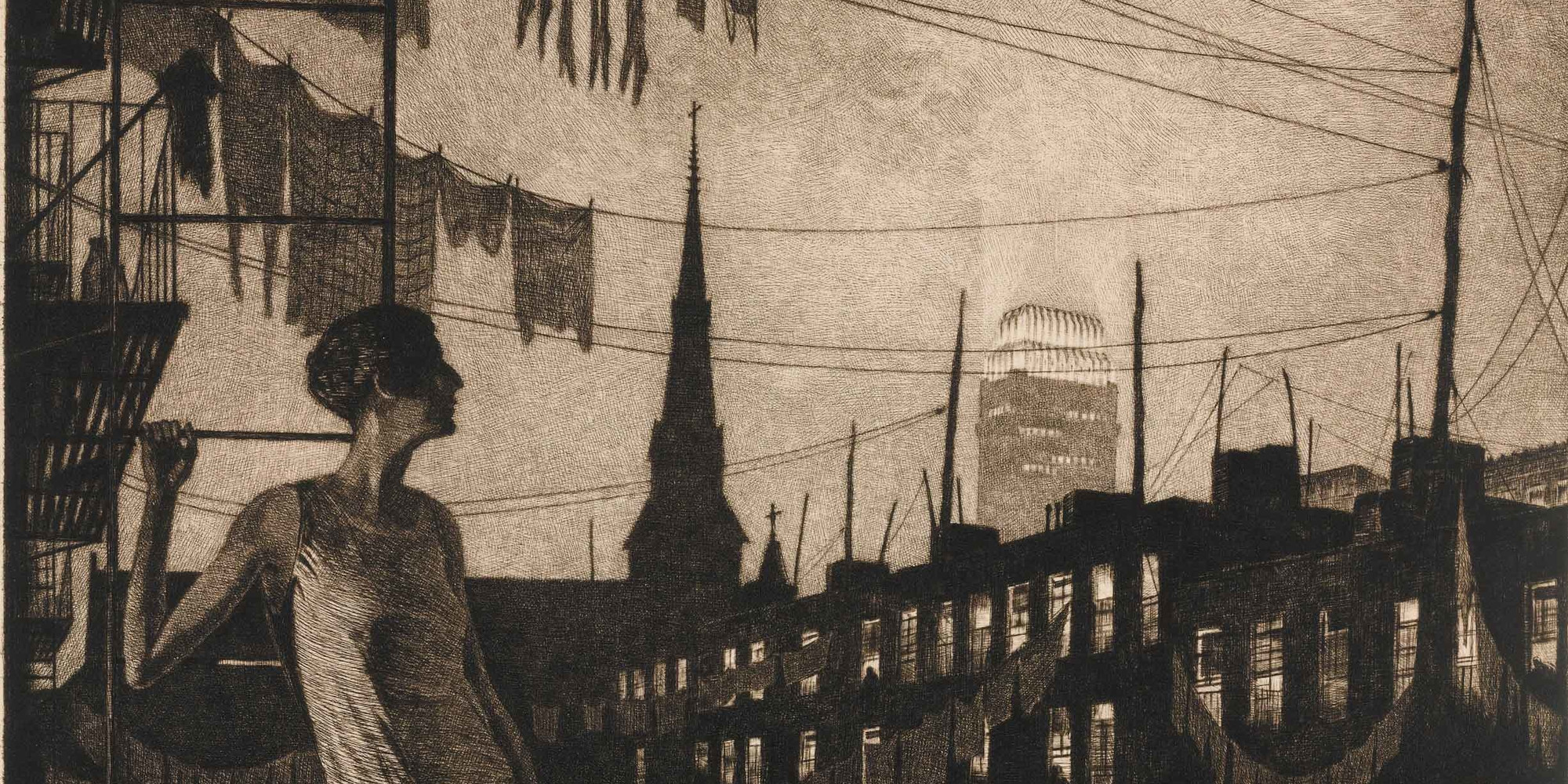 "Martin Lewis. The Glow of the City. 1929. Drypoint, plate: 11 7/16 × 14 7/16"" (29.1 × 36.6 cm); sheet: 14 5/16 × 18 7/8"" (36.3 × 47.9 cm). Publisher: unknown. Printer: Martin Lewis, New York. Edition: 106. Purchase. © The Estate of Martin Lewis"