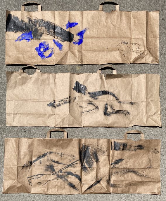 Simone Forti. Figure Bag Drawings. 2020