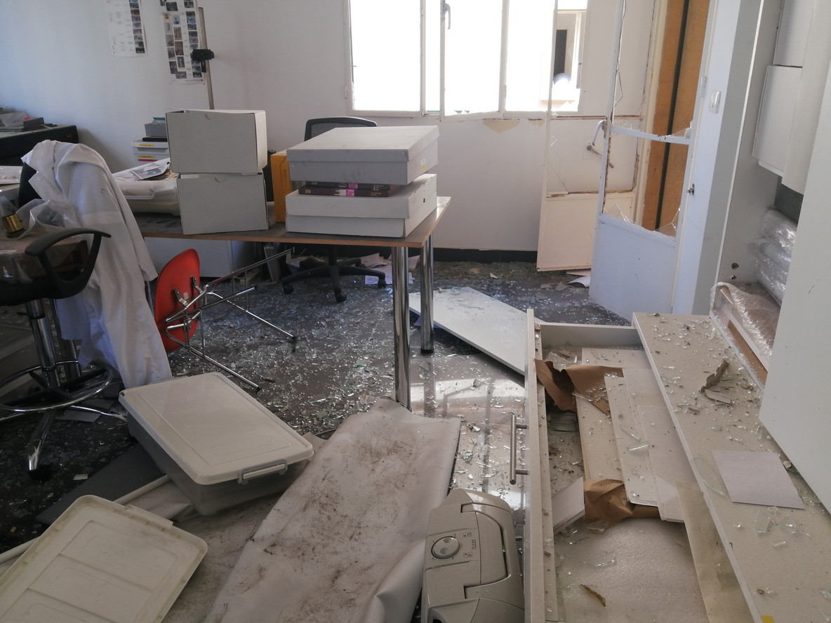 Damage to the Arab Image Foundation's Beirut offices