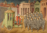 Remedios Varo. The Juggler (The Magician). 1956. Oil and inlaid mother of pearl on board. The Museum of Modern Art, New York.