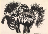 Karel Appel. Beast. 1956. Ink on paper, 9 3/8 x 12 5/8″ (23.8 x 32.1 cm). The Museum of Modern Art, New York. The Joan and Lester Avnet Collection © 2019 Artists Rights Society (ARS), New York / Van Lennep Producties, Amsterdam