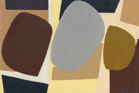 "Saloua Raouda Choucair. Composition with Pebbles. 1959. Oil on panel, 13 1/2 × 17 1/4"" (34.3 × 43.8 cm). The Riklis Collection of McCrory Corporation (by exchange)"