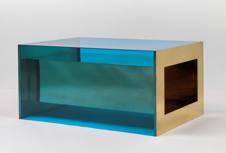 "Donald Judd. Untitled. 1973. Brass and blue Plexiglas, 33 × 68 × 48"" (83.8 × 172.7 × 121.9 cm). Solomon R. Guggenheim Museum, New York, Panza Collection, 1991. © 2020 Judd Foundation/Artists Rights Society (ARS), New York"
