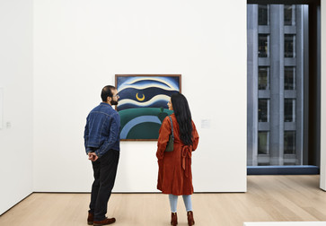 A view of the fifth-floor collection galleries. Shown: Tarsila do Amaral. The Moon (A Lua). 1928. Oil on canvas. The Museum of Modern Art, New York. Purchase. Photo: Noah Kalina