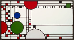 "Frank Lloyd Wright. Clerestory Windows from Avery Coonley Playhouse, Riverside, Illinois. 1912. Clear and colored glass in zinc matrix, Each: 18 5/16 x 34 3/16"" (46.5 x 86.8 cm). Joseph H. Heil Fund. © 2017 Frank Lloyd Wright Foundation / Artists Rights Society (ARS), New York"