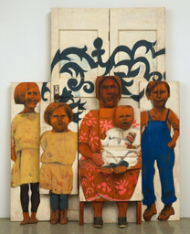"Marisol (Marisol Escobar). The Family. 1962. Paint and graphite on wood, sneakers, tinted plaster, door knob and plate, three sections, Overall 6' 10 5/8"" x 65 1/2"" x 15 1/2"" (209.8 x 166.3 x 39.3 cm). Advisory Committee Fund. © 2020 Marisol"