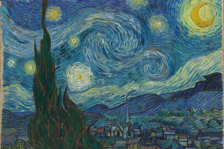 "Vincent van Gogh. The Starry Night. 1889. Oil on canvas, 29 × 36 1/4"" (73.7 × 92.1 cm). Acquired through the Lillie P. Bliss Bequest (by exchange). Conservation was made possible by the Bank of America Art Conservation Project."