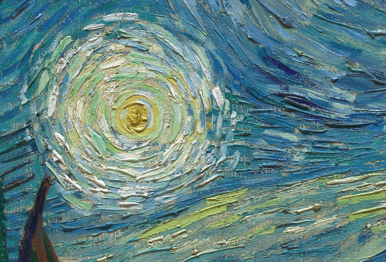 "Vincent van Gogh. The Starry Night (detail). 1889. Oil on canvas, 29 × 36 1/4"" (73.7 × 92.1 cm). Acquired through the Lillie P. Bliss Bequest (by exchange). Conservation was made possible by the Bank of America Art Conservation Project."