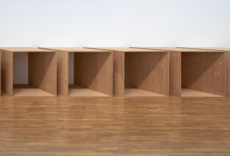 "Donald Judd. Untitled. 1973. Plywood; five units, each 72 × 143 × 72″ (182.9 × 363.2 × 182.9 cm), with 12″ (30.5 cm) intervals. Overall: 72 × 479 × 72"" (182.9 × 1216.7 × 182.9 cm). An additional sixth unit fabricated in 1975. National Gallery of Canada, Ottawa © 2020 Judd Foundation / Artists Rights Society (ARS), New York"