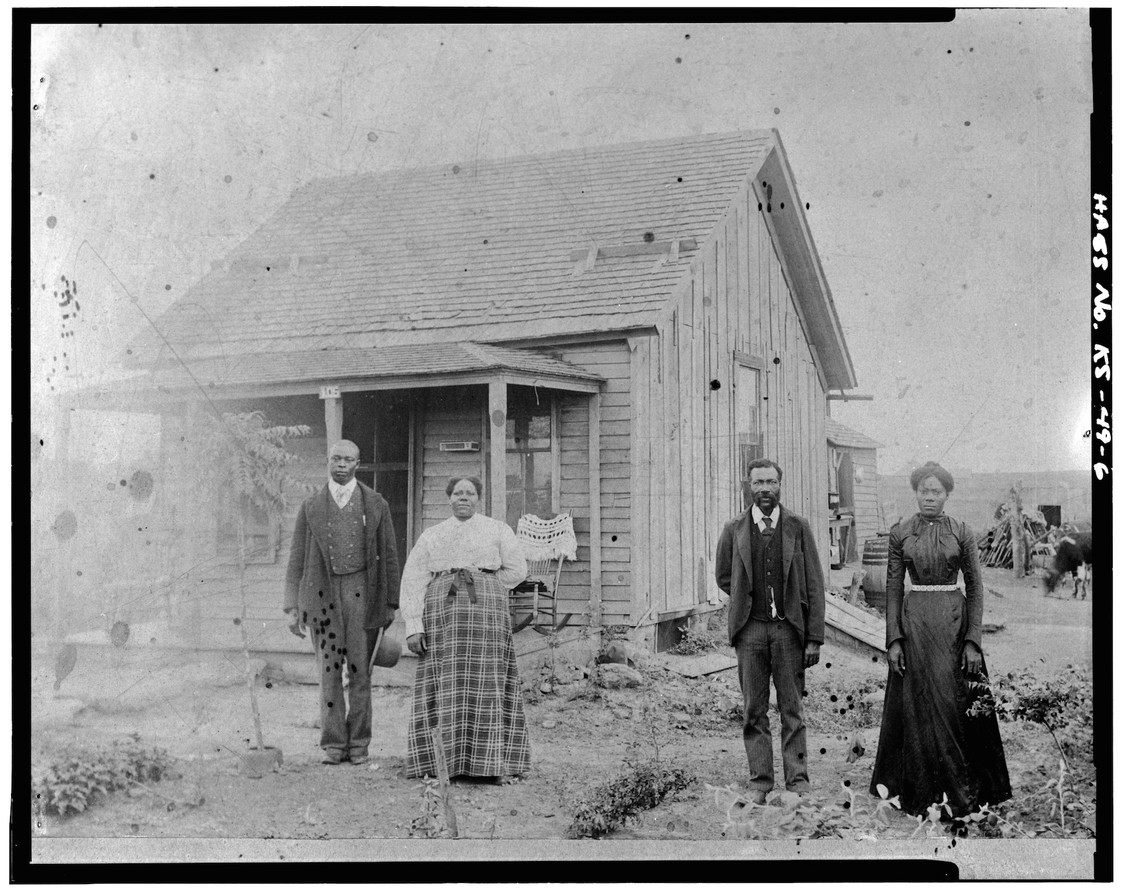 Exodusters in Nicodemus, Kansas. c. late 19th century.