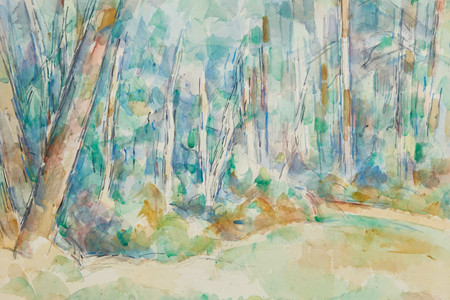 "Paul Cézanne. Forest Landscape (Intérieur de forêt). 1904–06. Pencil and watercolor on paper, 18 5/8 × 23 5/8"" (47.3 × 60 cm). Private collection"