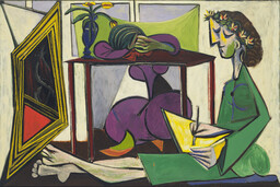 "Pablo Picasso. Interior with a Girl Drawing. 1935. Oil on canvas, 51 1/4 x 6' 4 5/8"" (130 x 195 cm). Nelson A. Rockefeller Bequest. © 2017 Estate of Pablo Picasso / Artists Rights Society (ARS), New York"