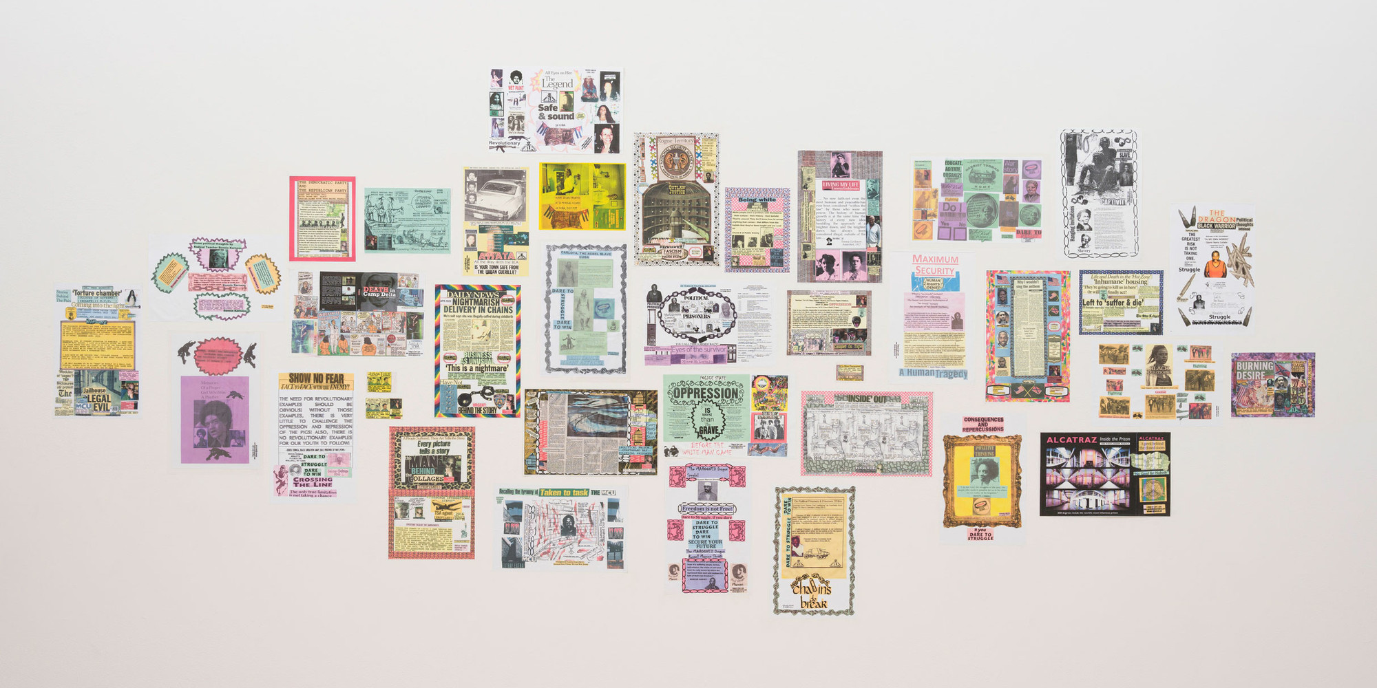 Ojore Lutalo. All works untitled. n.d. Photocopied collage posters, dimensions variable. Installation view, Marking Time: Art in the Age of Mass Incarceration, MoMA PS1, September 17, 2020–April 5, 2021. Courtesy the artist