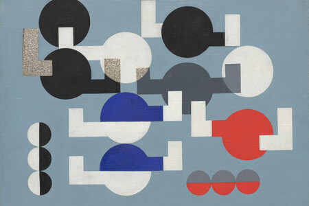 "Sophie Taeuber-Arp. Composition of Circles and Overlapping Angles. 1930. Oil on canvas. 19 1/2 × 25 3/4"" (49.5 × 64.1 cm). The Riklis Collection of McCrory Corporation. © 2021 Artists Rights Society (ARS), New York/VG Bild-Kunst, Bonn"