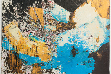 Image: Mark Bradford. Let's Walk to the Middle of the Ocean. 2015. Paper, acrylic paint, and acrylic varnish on canvas. Anonymous gift Alt Text: A large-scale landscape-oriented mixed media artwork, with an abstract clash of sky blue, muted gold, black, and white shapes extending to the edges of the canvas. Torn paper and splashed paint are layered on top of each other, with some areas defined in pale pink and mud gray paint. On the left side of the composition, there are carved lines emanating from various areas like cracked glass or a map of a city center.