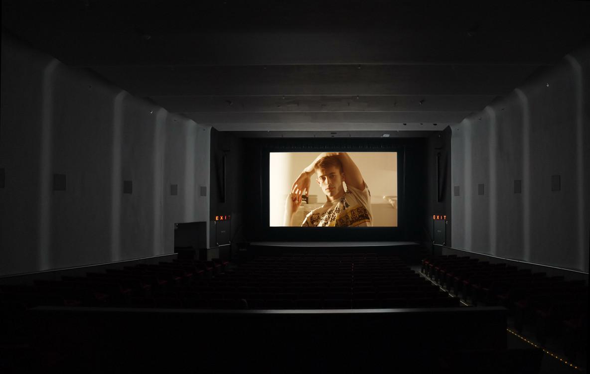 View of the June 28, 2021, DCP test of Ken Okiishi's Vital Behaviors in MoMA's Titus Theater 1