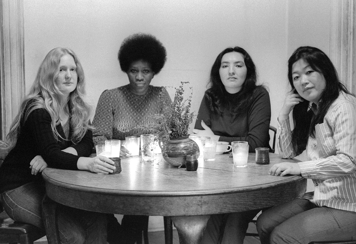 Fig. 18: From left: Mary Lucier, Charlotte Warren, Cecilia Sandoval, and Kubota during a Red, White, Yellow & Black planning session, E. 7th St., 1973