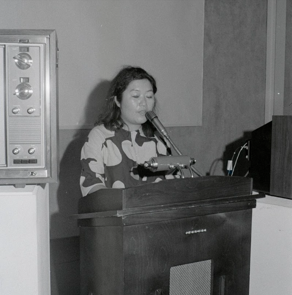 Fig. 8: Shigeko Kubota giving a lecture at the conference Open Circuits: An International Conference on the Future of Television on January 23, 1974.