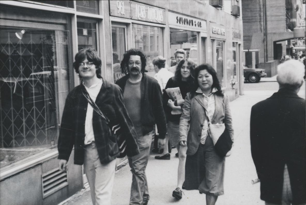 Fig. 10: From left: Robert Harris, Al Robbins, Cath Polisar, and Shigeko Kubota. Image courtesy Shigeko Kubota Video Art Foundation. Photo: Peter Kolb